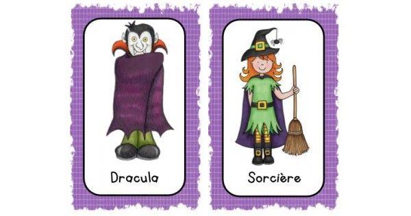 Atelier d'Halloween où les élèves doivent chercher l'affiche du monstre, la trouver et l'identifier sur sa feuille-réponse. Cette activité peut se faire à travers le local de classe ou tout simplement à une table. À vous de dé