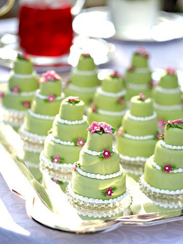 Adorable mini cakes...Cut these from sheet cake using round graduated-size biscuit cutters. For clean edges, freeze the cake and thaw slightly before cutting