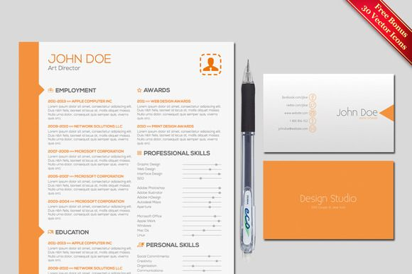 Resume \ Cover Letter Template Super životopisy a Ikony - art director cover letter