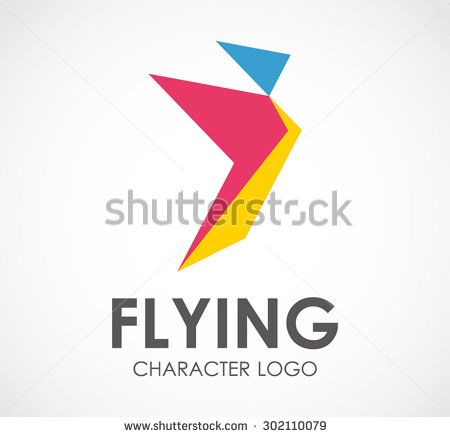 Flying character bird paper abstract vector logo design template freedom social business icon company identity symbol concept - stock vector