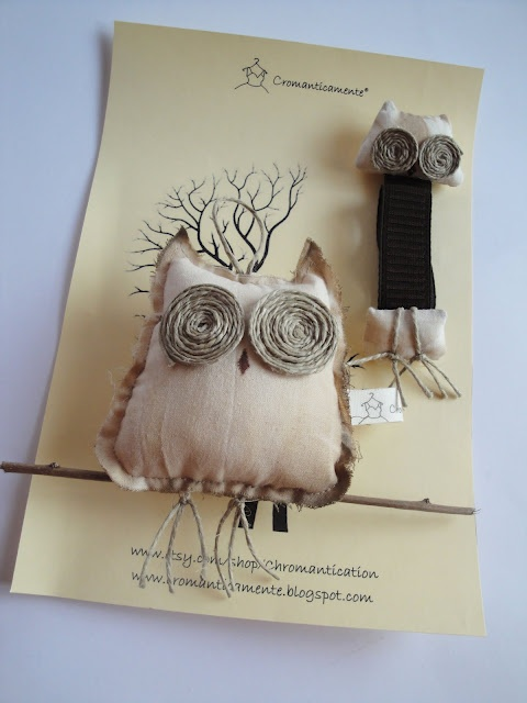 Owl with raw edges - tactile ..twine eyes                                                                                                                                                      More