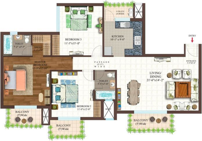 Incredible 3 Bhk Home Plans Amazing Architecture Magazine House Plans House Layout Plans Model House Plan