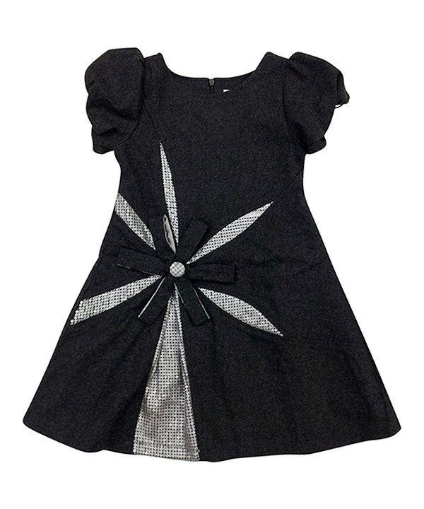 Look at this #zulilyfind! Mini Treasure Kids Gray Ella Wool-Blend Puff-Sleeve Dress - Girls by Mini Treasure Kids #zulilyfinds