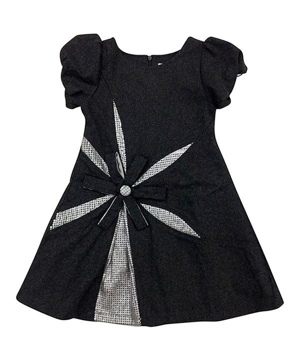 Look what I found on #zulily! Mini Treasure Kids Gray Ella Wool-Blend Puff-Sleeve Dress - Girls by Mini Treasure Kids #zulilyfinds