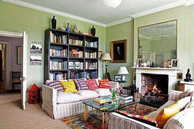 Green Living Room & Chevron Cushions - Living Room Design Ideas (houseandgarden.co.uk)
