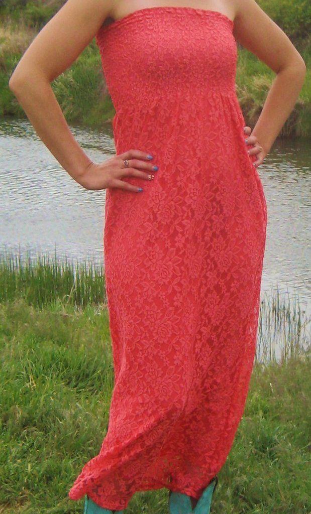 Lace Dress Maxi Dress-CORAL