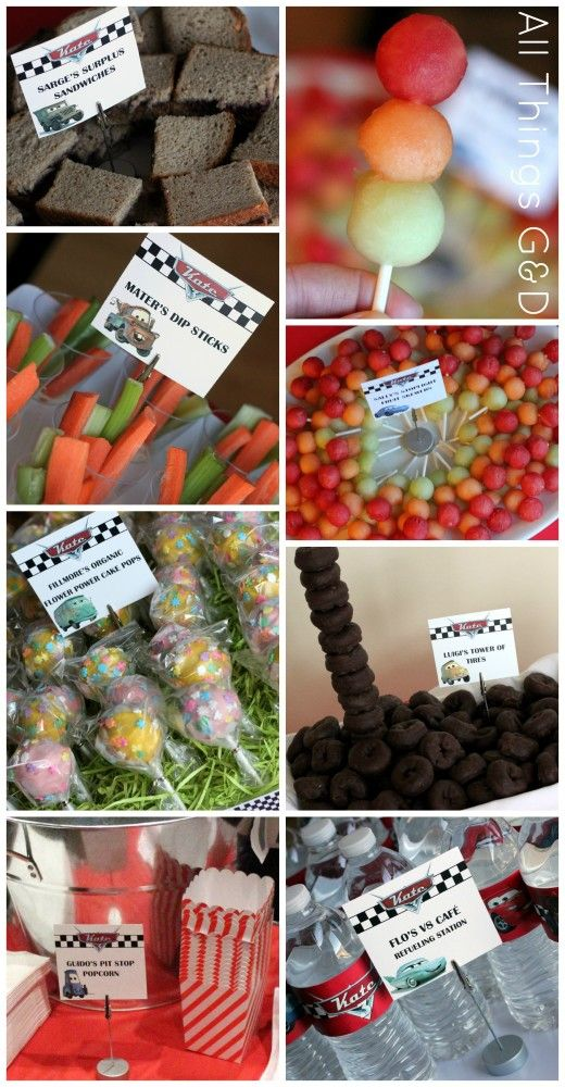 Cars party food, Cars birthday party, party planning, food labels