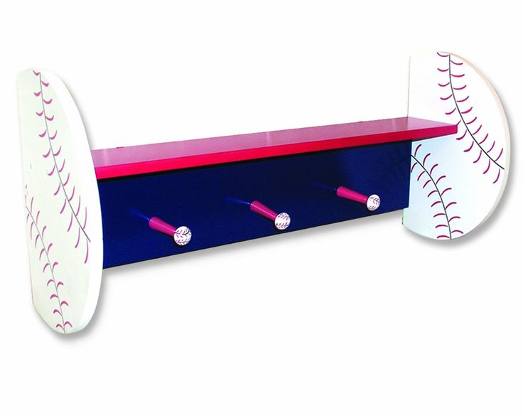 Trend Lab Kids Baseball Shelf With Peg Hooks