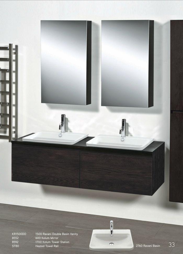 Newtech - Ravani Double Basin vanity, Kolum mirror, Kolum tower station, heated towel rail & Ravani basin