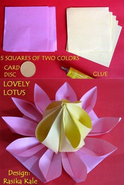 This is really a lovely way to make origami paper lotus, the lotus petals and stamens are of the same folding modular unit which is similar to kanzashi, pretty and easy. Or maybe we can try to use Kanzashi ribbon instead. Supplies you need: Card stock paper in pink and yellow Card disc Craft glue  It would be better to make a lotus flower ball with this design, esp with kids for a late fun afternoon. Materials: Origami paper Scissors Glue