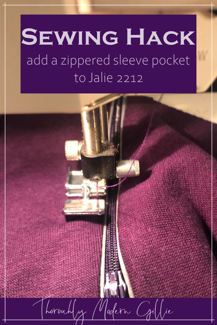 I took the sleeve of the Jalie 2212 Multisport Pullover and created a sewing hack to add a zippered pocket to the sleeve…