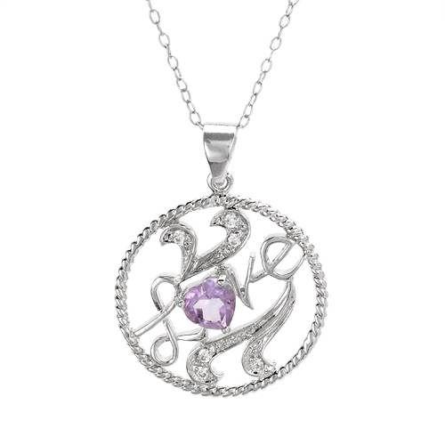 """Smykke i 925 Sterling sølv med ordet LOVE, dekorert med hvite og lilla Cubic Zirkonia. Lengde: Ca 45,7 cm (18 """"). Anheng sørrelse: Lengde: 31 mm. Bredde: 23 mm. Total vekt: 4,5 g. #sølvsmykke #sølvkjede #anheng #love #kjærlighet #925sterling #zirkonia #cz #halskjede #zendesign"""