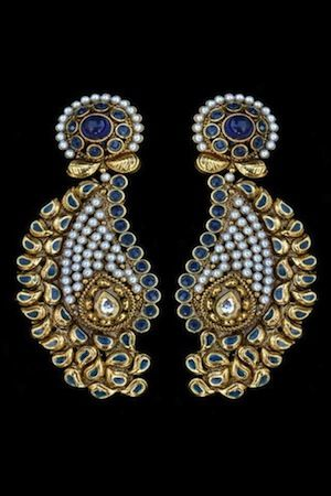 gorgeous traditional Indian jewelry, earrings, party, wedding, blue gold pearl