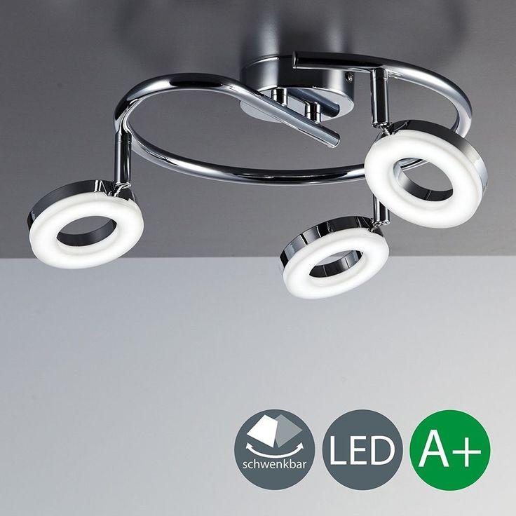 LED ceiling spotlights 3 x 4 W 330 Lumen Pivotable and adjustable spots Modern  #BKLicht #Modern
