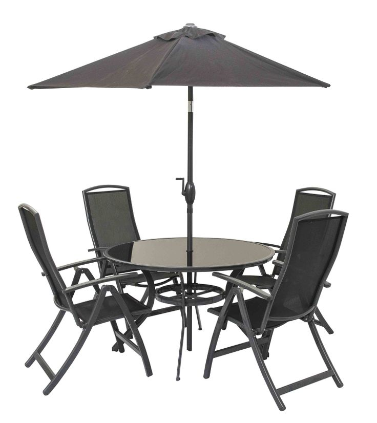 Rimini Garden Set Black coloured metal framed table with smoked glass top   4 x matching. The 9 best images about Garden Furniture Hire   TEHC on Pinterest