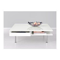 TOFTERYD Coffee table - high gloss white - IKEA sleek look and low to the ground - adds dimension and style.