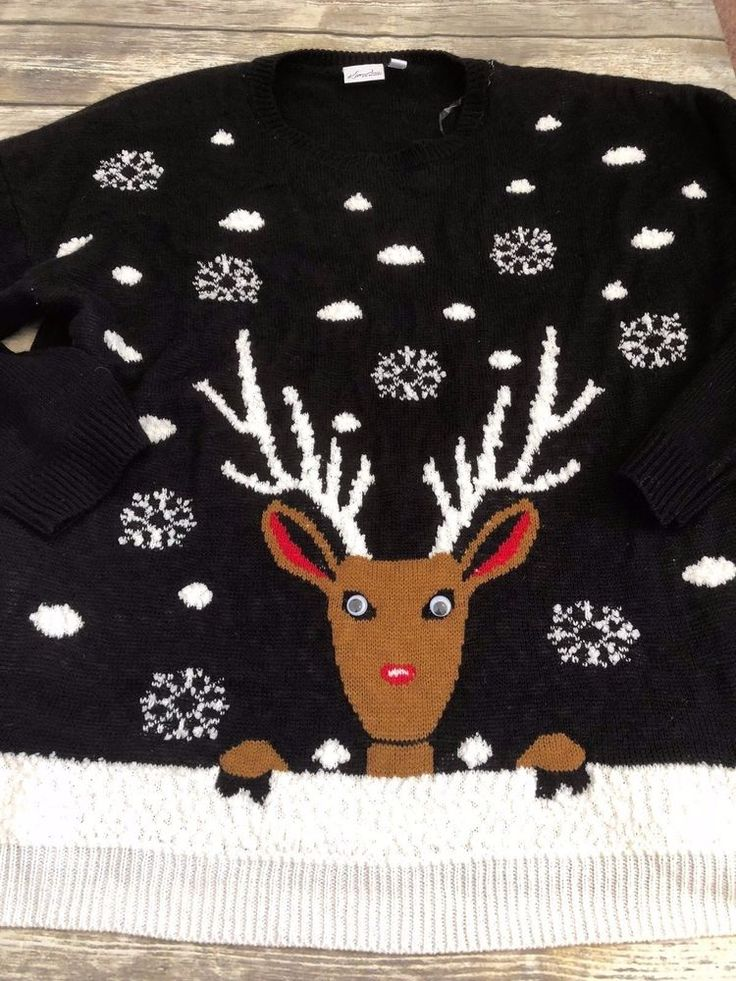 Kim Rogers 3X Plus Size Christmas Sweater Reindeer Googly Eyes  #KimRogers #Sweater