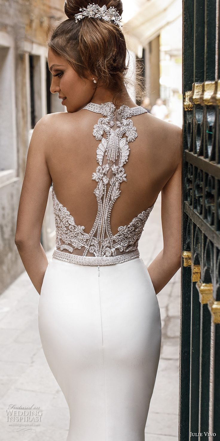 julie vino spring 2018 bridal sleeveless halter neck heavily embellished bodice elegant chic fit and flare sheath wedding dress rasor back chapel train (11) zbv