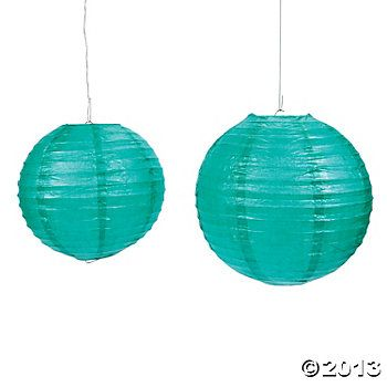 Teal Paper Lanterns (also have them in white, light blue, silver, and yellow to coordinate) $10 for 6 = $1.67 each