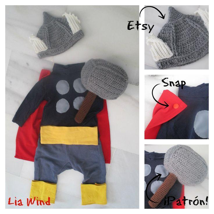 Thor baby Costume. Free Pattern Thor Hammer Disfraz de thor para bebé. Patron Gratis: Martillo de Thor