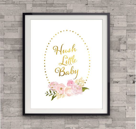 Gold Nursery Decor, Hush Little Baby, Lullaby Art Print, Nursery Decor Gold, Baby Girl's Nursery Wall Art, Pink and Gold Art.
