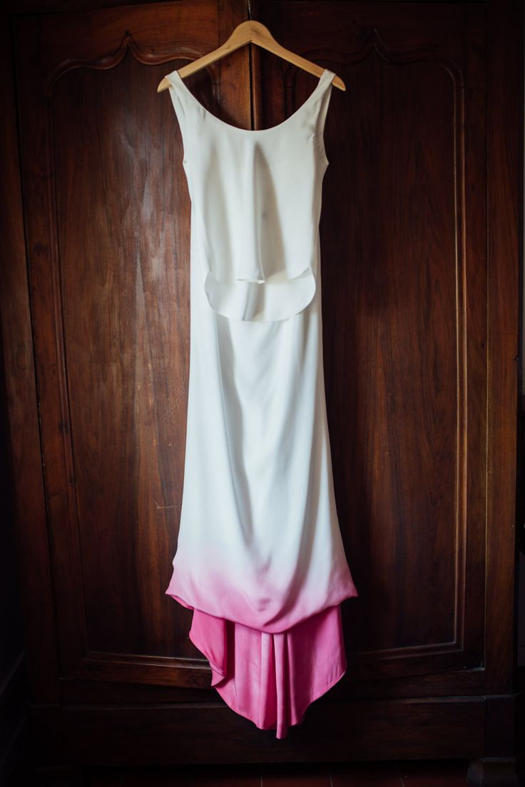 Bride with Dip dye pink wedding dress