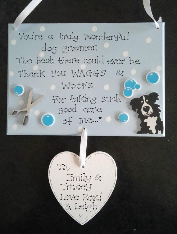 Personalised Dog Groomer Thank You Gift Plaque Dog Grooming Pet