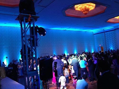 Austin Texas Event, Room Wash, Uplighting, Interactive Lighting, Blue, Intelligent Lighting