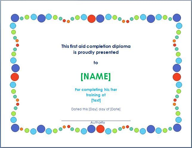 This kind of a certificate is given to a person who has for First aid certificate template free