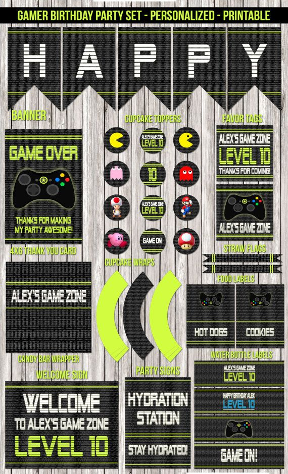 Printable file only. No products will be shipped.  This listing is for a personalized Video Game Party party set.  When you purchase this digital