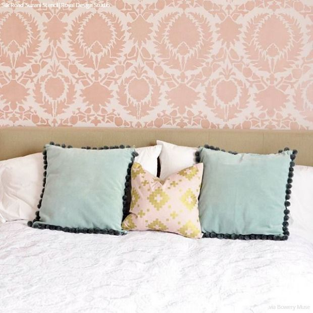 Wall Decorations Using Fabric : Best stenciled painted walls images on