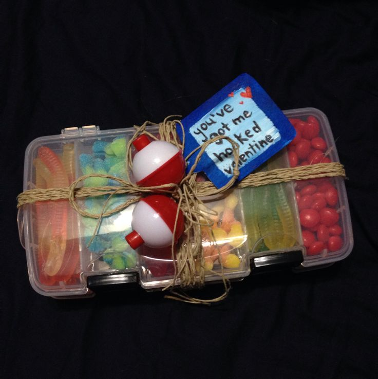 Valentines Candy tackle box: - gummy worms - gummy octopuses - Swedish fish - red hots