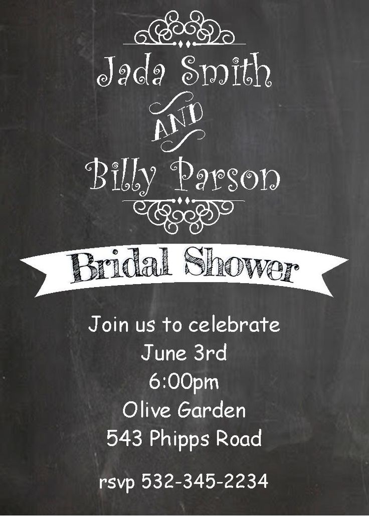 recipe themed bridal shower invitation wording%0A Bridal Shower invitations  Chalkboard
