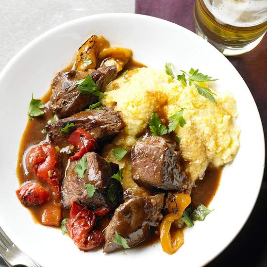 Beef Sirloin Tips with Smoky Pepper Sauce For a hearty dinner idea, cook steak with roasted red peppers and serve over polenta, couscous, or mashed potatoes.