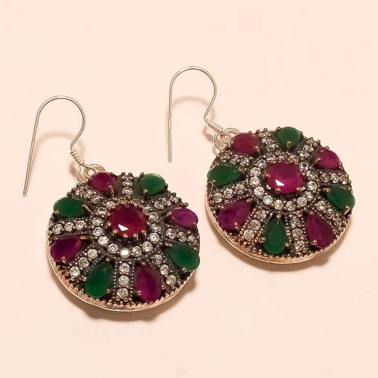 Turkish Hurrem Sultan Burmese Ruby, Zambian Emerald 925 Sterling Silver Earring #Handmade
