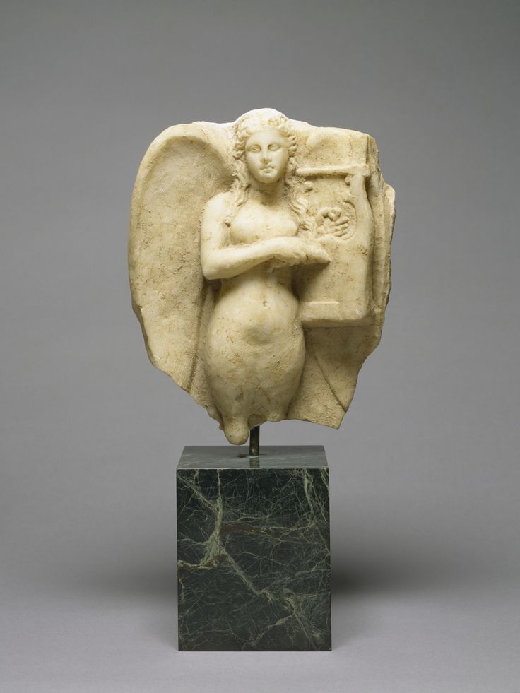 Siren with a Kithara from a Grave Monument. This expressive figure of a mournful siren playing the kithara, a musical instrument like a lyre, originally crowned a funerary monument. Sirens were mythical creatures that were part-woman, part-bird, who, while best known as temptresses, also used their powers of song to praise men of great fame, and thus appear frequently on funerary monuments of the 4th century. 2nd half 4th century BC (Classical)
