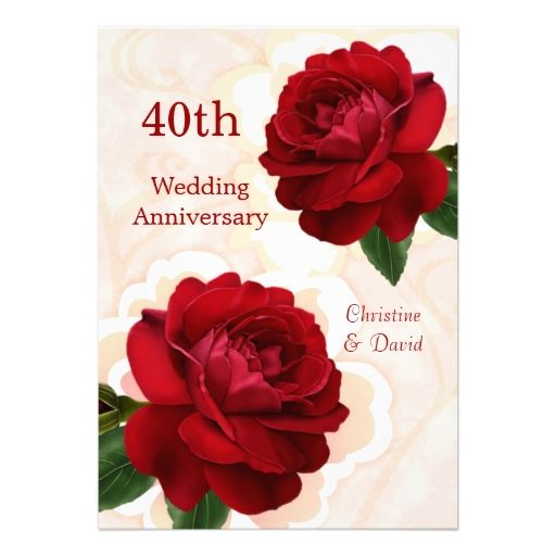 645 best 40th anniversary party invitations images on pinterest red roses 40th ruby wedding anniversary invitation stopboris Images