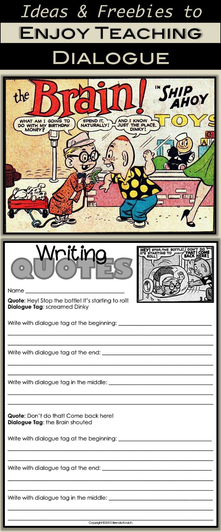 Enjoy teaching dialogue! Connect skills to narrative writing or even a set of cartoons. Grab some free printables (and some great ideas for teaching dialogue) at http://Enjoy-Teaching.com. Visit weekly for activities, ideas, and links for third, fourth, or fifth grade students.