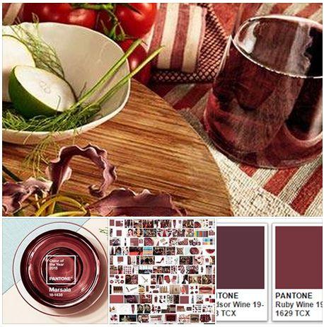 Ha il nome di un vino il colore #Pantone del 2015: #Marsala.  Più del solito la scelta è sinestetica: la vista, l'olfatto e il gusto sono celebrati insieme nelle tavole di presentazione di questo colore che però non è l'unico ad ispirarsi al mondo del vino: dalla vite (Grapewine) dall'assaggio (Winetesting) passando per Chardonnay, Cabernet, Syrah,Champagne e Sangria. http://www.pantone.com/pages/index.aspx?pg=21163