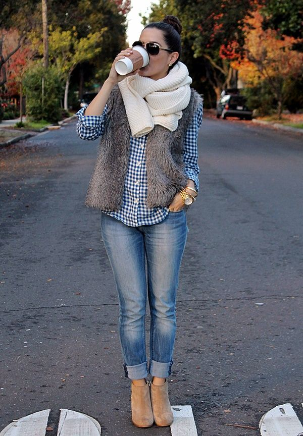 Gingham, light wash jeans, ankle boots