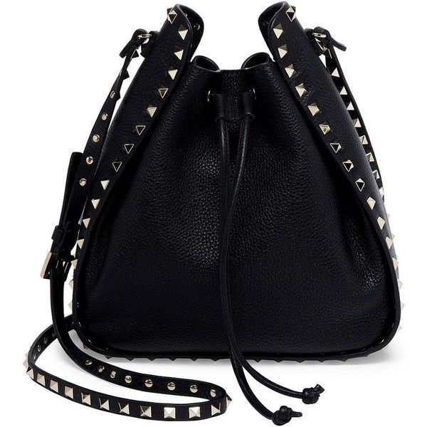 Valentino Large Rockstud Leather Bucket Bag (21.274.100 IDR) ❤ liked on Polyvore featuring bags, handbags, shoulder bags, apparel & accessories, black, drawstring purse, leather handbags, valentino purses, valentino handbags and leather drawstring handbags