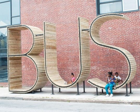 Baltimore's New Bus Shelter Lets Straphangers Lounge Inside Giant Letters