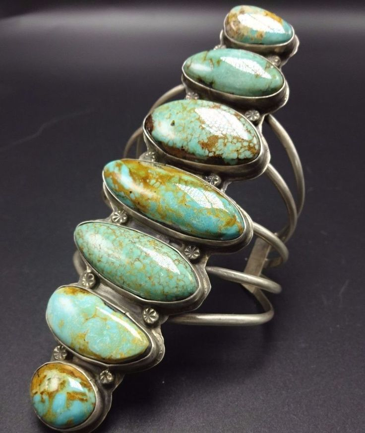 Huge Signed Vintage NAVAJO Sterling Silver & TURQUOISE Cuff BRACELET | Jewelry & Watches, Ethnic, Regional & Tribal, Native American | eBay!