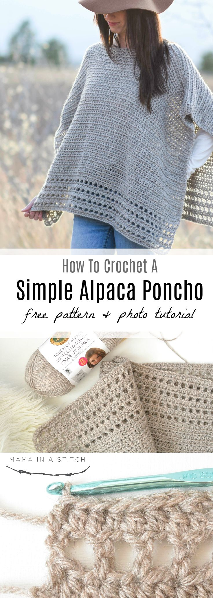 Light Alpaca Poncho Crochet Pattern via @MamaInAStitch Easy crochet pattern with a picture tutorial! #crafts #diy #crochetpattern #knittingpattern #poncho #style