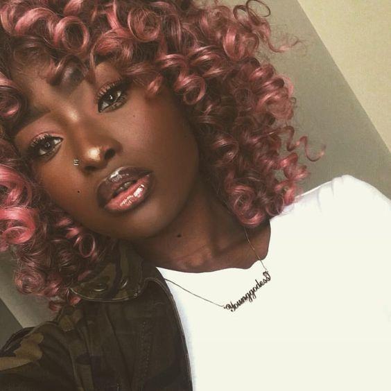 rose gold hair on dark skin