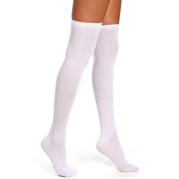 White Thigh High Sock ($3.49) ❤ liked on Polyvore featuring intimates, hosiery, socks, accessories, leggings, e-hosiery, meia, white, white hosiery and long socks