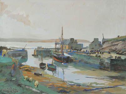 """Lucien Victor Delpy (1898-1967), """"Ouessant, le port de Lampaul marée basse"""", 1938, gouache"""