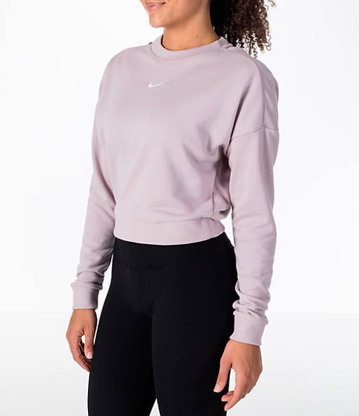 2b09d7d39b8 Front view of Women's Nike Dry Crop Crew Open Back Training Top in Particle  Rose/White