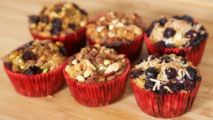 Healthy Baked Oatmeal - basically oatmeal muffins (gluten free, if that's important to you), with whatever toppings you like