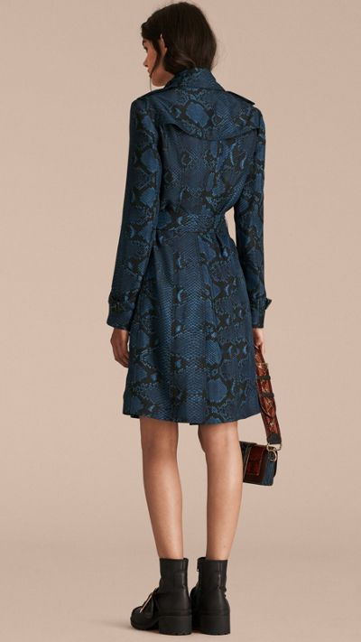Mineral blue Python Print Silk Trench Coat 3